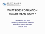 Play presentation: What Does Population Health Mean Today?